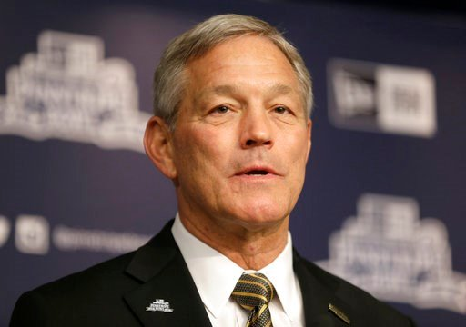 (AP Photo/Seth Wenig). FILE - In a Dec. 5, 2017 file photo, University of Iowa NCAA college football head coach Kirk Ferentz speaks to reporters during a news conference in New York. Attorneys for Iowa football coach Kirk Ferentz and his neighbors say ...