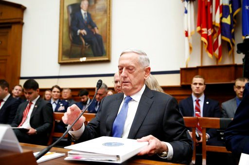 (AP Photo/Alex Brandon). Defense Secretary Jim Mattis readies his papers as he takes his seat for a hearing of the House Armed Services Committee on Capitol Hill, Tuesday, Feb. 6, 2018 in Washington. Mattis says the administration's new nuclear strateg...