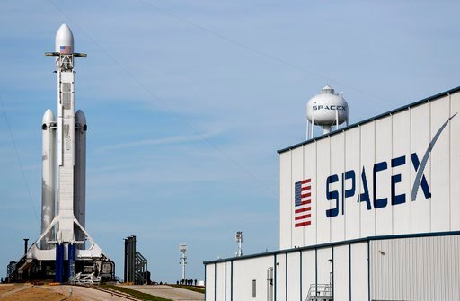 (AP Photo/Terry Renna). A Falcon 9 SpaceX heavy rocket stands ready for launch on pad 39A at the Kennedy Space Center in Cape Canaveral, Fla., Monday, Feb. 5, 2018. The Falcon Heavy scheduled to launch Tuesday afternoon, has three first-stage boosters,...