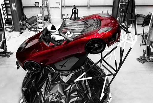 """(Courtesy of Elon Musk/Instagram via AP). A mannequin """"Starman"""" sits at the wheel of a Tesla Roadster in this photo posted on the Instagram account of Elon Musk, head of auto company Tesla and founder of the private space company SpaceX. The car will b..."""