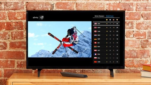 (Comcast Corp. via AP). This 2018 image provided by Comcast Corp. shows the Olympics interface on an X1 TV set-top box for Comcast customers. NBC owner Comcast will include online coverage on its TV set-top boxes and TV coverage on its mobile apps to o...