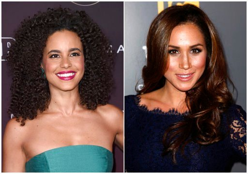 "(AP Photo). In this combination photo, actress Parisa Fitz-Henley attends the 5th annual People Magazine ""Ones To Watch"" party on Oct. 4, 2017, in Los Angeles, left, and actress Meghan Markle attends the USA Network and The Moth's ""A More Perfect Union..."