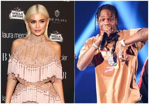 (Photos by Andy Kropa, left, and John Salangsang/Invision/AP). In this combination photo, TV personality Kylie Jenner, left, attends Harper's Bazaar Icons celebration on Sept. 9, 2016, in New York and rapper Travis Scott performs at the 2017 iHeartRadi...