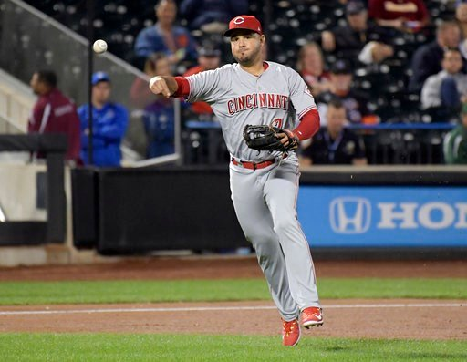(AP Photo/Bill Kostroun, File). FILE - In this Sept. 7, 2017, file photo, Cincinnati Reds third baseman Eugenio Suarez throws out New York Mets' Kevin Plawecki during a baseball game in New York. The Reds won their salary arbitration case against Suare...