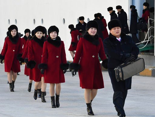 (Song Kyeong-seok/Kyodo News/Pool Photo via AP). Members of the North Korean arts troupe arrive at the Mukho port in Gangwon-do province, South Korea, Wednesday, Feb. 7, 2018. The troupe's visit is to coincide with the Pyeongchang 2018 Olympic Games th...