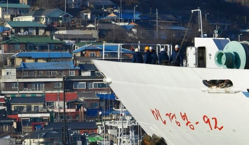 (Song Kyung-Seok/Pool Photo via AP). North Korean ship Mangyongbong-92 carrying art troupe members arrives at Mukho port in Donghae, South Korea Tuesday, Feb. 6, 2018. The art troupe, led by Hyon Song Wol, also the leader of the famous Moranbong girl b...