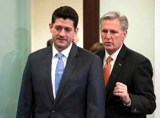 (AP Photo/J. Scott Applewhite). Speaker of the House Paul Ryan, R-Wis., left, and Majority Leader Kevin McCarthy, R-Calif., confer as they arrive to meet with reporters following a closed-door GOP strategy session at the Capitol in Washington, Tuesday,...