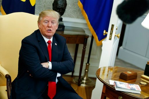 (AP Photo/Evan Vucci). In this Feb. 2, 2018, photo, President Donald Trump speaks during a meeting with North Korean defectors where he talked with reporters about allowing the release of a secret memo on the FBI's role in the Russia inquiry, in the Ov...
