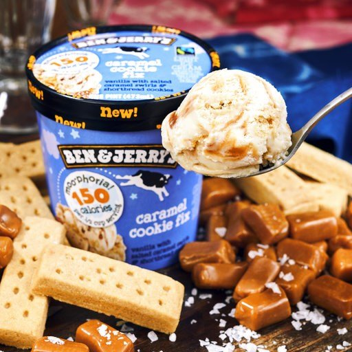 (Courtesy of Ben & Jerry's via AP). This photo provided by Ben & Jerry's shows the company's low-calorie caramel cookie fix ice cream. Ben & Jerry's is the latest big brand to launch a slimmed-down version of its frozen treats.