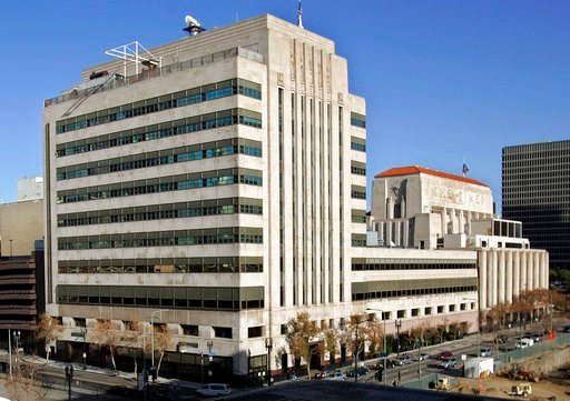 (AP Photo/Reed Saxon, File). FILE - This Jan. 9, 2007, file photo shows the Los Angeles Times buildings in downtown Los Angeles. The Los Angeles Times is reporting its parent company is in talks to be sold to local billionaire physician Patrick Soon-Sh...