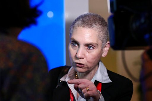 (AP Photo/Yong Teck Lim). U.S. Principal Deputy Assistant Secretary of State for Political-Military Affairs Tina Kaidanow speaks during an interview with the Associated Press at the Boeing booth during the Singapore Airshow on Wednesday, Feb. 7, 2018, ...