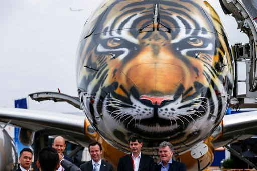 (AP Photo/Yong Teck Lim). Visitors pose for a group photo with the tiger-painted nose of an Embraer E-190 E2 commercial jet parked at the static display area during the Singapore Airshow Wednesday, Feb. 7, 2018, in Singapore.
