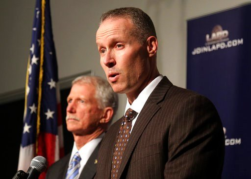 (AP Photo/Mike Balsamo). Justin Eisenberg, the chief of detectives for the Los Angeles Police Department, right, speaks at a news conference in Los Angeles at police headquarters alongside Capt. William Hays, Tuesday, Feb. 6, 2018. A California man has...