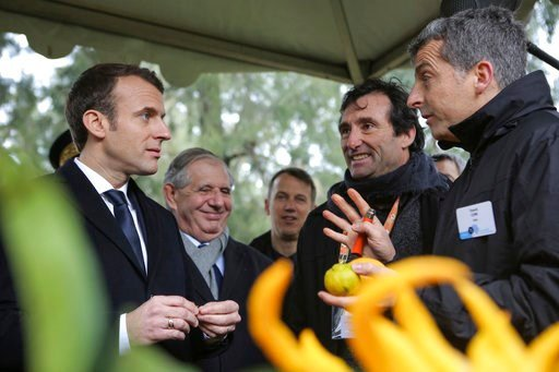 (AP Photo/Raphel Poletti, Pool). French President Emmanuel Macron, left, listens to scientists as he visits the National Institute for Agronomic Research of San-Giuliano near Bastia, Wednesday Feb.7, 2018. Macron arrived Tuesday in Corsica for a two-da...