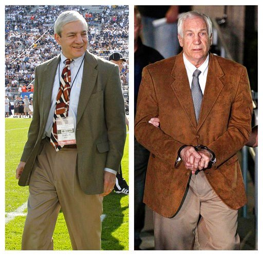 (AP Photo/Gene J. Puskar, File). FILE - In this file photo combo, at left, in an Oct. 8, 2011, file photo, Penn State president Graham Spanier walks on the field before an NCAA college football game in State College, Pa. At right, in a June 22, 2012, f...