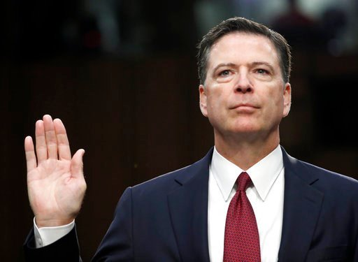 (AP Photo/Alex Brandon, File). FILe - In this June 8, 2017 file photo, former FBI Director James Comey is sworn in during a Senate Intelligence Committee hearing on Capitol Hill in Washington. Comey's publisher is moving up the release date of his memo...