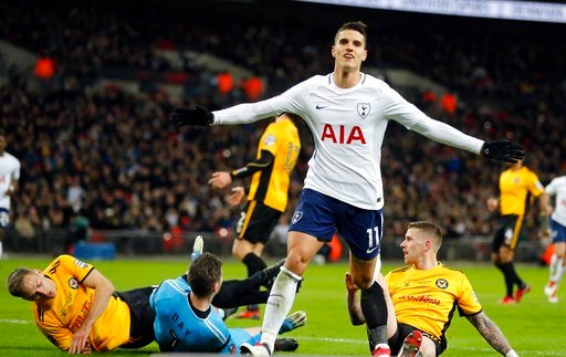 (AP Photo/Frank Augstein). Tottenham's Erik Lamela celebrates after scoring his side's second goal during the English FA Cup fourth round replay soccer match between Tottenham Hotspur and Newport County at Wembley Stadium in London, Wednesday, Feb. 7, ...