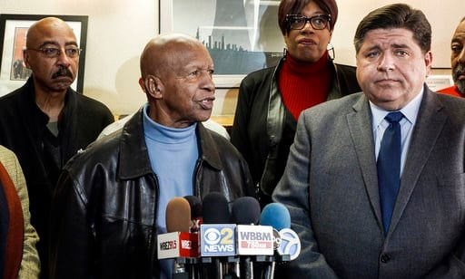 (Marcus DiPaola/Chicago Sun-Times via AP). Illinois Secretary of State Jesse White, with Democratic gubernatorial candidate J.B. Pritzker looking on at right, speaks at an event in Chicago on Tuesday, Feb. 6, 2018. Pritzker apologized for newly release...