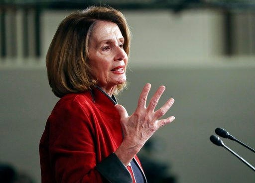 (AP Photo/Pablo Martinez Monsivais, File). FILE - In this Jan. 11, 2018, file photo, House Minority Leader Nancy Pelosi of Calif., gestures as she speaks during a news conference on Capitol Hill in Washington. On the heels of President Donald Trump's S...