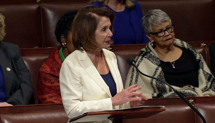 Rep. Nancy Pelosi spoke for eight hours in protest of lack of a deal for the 'dreamers' on Wednesday. (Source: House TV/CNN)