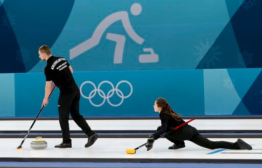 (AP Photo/Natacha Pisarenko). Olympic Athletes from Russia Anastasia Bryzgalova, right, and Aleksandr Krushelnitckii train ahead of the 2018 Winter Olympics in Gangneung, South Korea, Wednesday, Feb. 7, 2018.