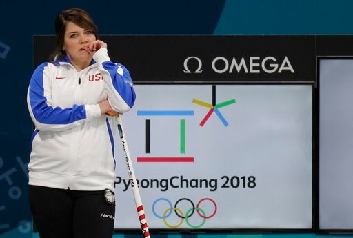 (AP Photo/Aaron Favila). United States' mixed doubles curler Becca Hamilton waits for her turn during training session ahead of the 2018 Winter Olympics in Gangneung, South Korea, Wednesday, Feb. 7, 2018.