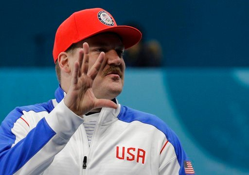 (AP Photo/Aaron Favila). United States' mixed doubles curler Matt Hamilton gestures during training session ahead of the 2018 Winter Olympics in Gangneung, South Korea, Wednesday, Feb. 7, 2018.