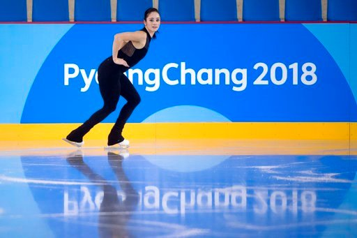 (Paul Chiasson/The Canadian Press via AP). Canada's Kaetlyn Osmond performs her routine during a practice session at the Gangneung Ice Arena ahead of the 2018 Winter Olympics in Gangneung, South Korea, Wednesday, Feb. 7, 2018.