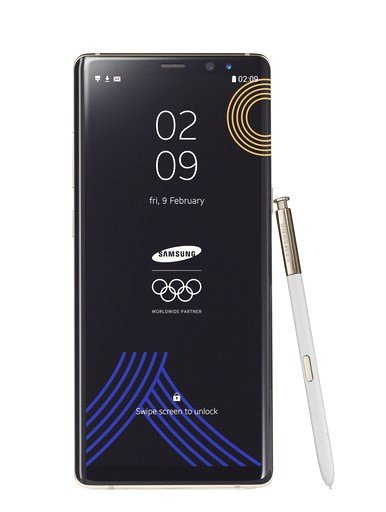 (Samsung via AP, File). FILE - This image provided by Samsung shows a Galaxy Note 8 Olympic Games phone. Samsung Electronics donated the limited edition phones for athletes and officials at the International Olympic Committee so that they can document ...