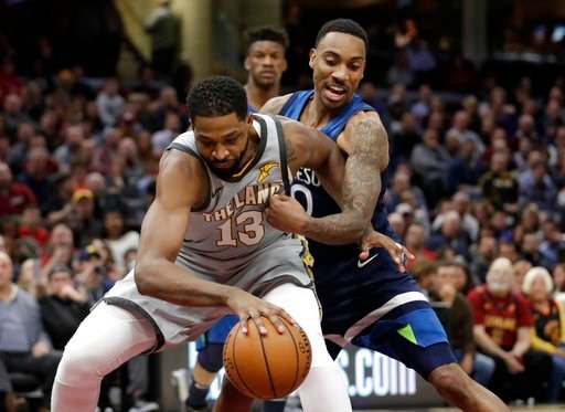 (AP Photo/Tony Dejak). Minnesota Timberwolves' Jeff Teague, right, puts pressure on Cleveland Cavaliers' Tristan Thompson in the first half of an NBA basketball game, Wednesday, Feb. 7, 2018, in Cleveland.