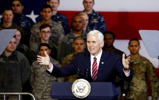 (Toru Hanai/Pool Photo via AP). U.S. Vice President Mike Pence addresses members of U.S. military services and Japan Self-Defense Force before he departs for South Korea, at U.S. Air Force Yokota base in Fussa, on the outskirts of Tokyo, Japan, Thursda...