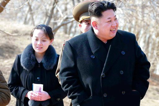 (Korean Central News Agency/Korea News Service via AP, File). FILE - This 2015, file photo provided by the North Korean government shows North Korean leader Kim Jong Un and his sister Kim Yo Jong, left, during their visit to a military unit in North Ko...