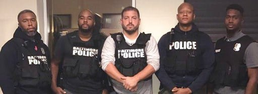 (Baltimore Police Department/The Baltimore Sun via AP). In this October 2016 photo released by the Baltimore police, officers, Det. Evodio Hendrix, Det. Marcus Taylor, Sgt. Wayne Jenkins, Det. Jemell Rayam, Det. Maurice Ward, from left, are seen in Bal...