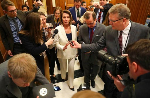 "(AP Photo/Pablo Martinez Monsivais). House Minority Leader Nancy Pelosi of Calif., speaks to reporters after she staged a record-breaking, eight-hour speech in hopes of pressuring Republicans to allow a vote on protecting ""Dreamer"" immigrants on Capito..."
