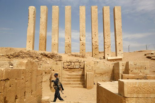 (AP Photo/Jon Gambrell). In this Saturday, Feb. 3, 2018 photo, a soldier allied to Yemen's internationally recognized government walks through the Awwam Temple, also known as the Mahram Bilqis, in Marib, Yemen. Experts fear the temple, as well as other...