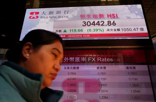 (AP Photo/Vincent Yu). A woman walks past a bank electronic board showing the Hong Kong share index at Hong Kong Stock Exchange Thursday, Feb. 8, 2018. Asian stock markets were mixed Thursday with some benchmarks erasing early morning gains. Investors ...