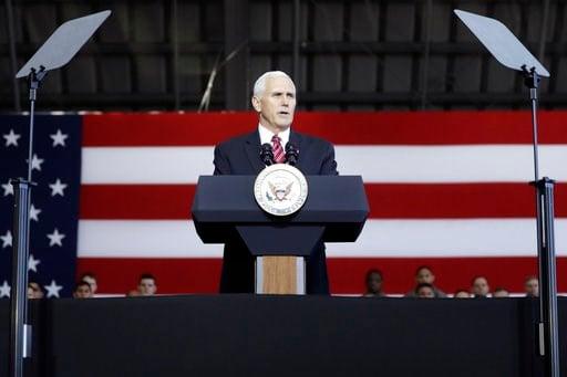 (Kiyoshi Ota/Pool Photo via AP). U.S. Vice President Mike Pence addresses U.S. military personnel at U.S. Yokota Air Base, on the outskirts of Tokyo, Thursday, Feb. 8, 2018.