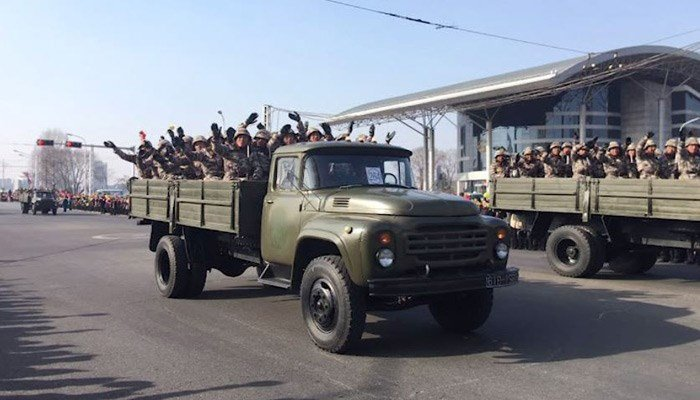 North Korea has held a military parade and rally on Kim Il Sung Square a day before South Korea holds the opening ceremony for the Pyeongchang Winter Olympics. (Source:  Michael Spavor/Paektu Cultural Exchange/CNN)