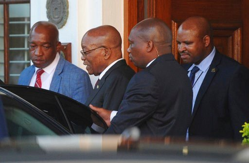 (AP Photo/Brenton Geach). South African President Jacob Zuma leaves parliament in Cape Town, South Africa, Wednesday, Feb 7, 2018. Zuma's exit from power because of scandals appears to be getting closer with his deputy, Cyril Ramaphosa, who is expected...
