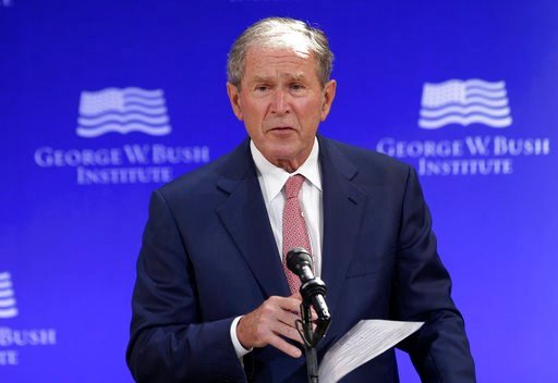 (AP Photo/Seth Wenig, File). FILE- In this Thursday, Oct. 19, 2017 file photo, former U.S. President George W. Bush speaks at a forum sponsored by the George W. Bush Institute in New York. Bush spoke Thursday at a summit in Abu Dhabi put on by the Milk...