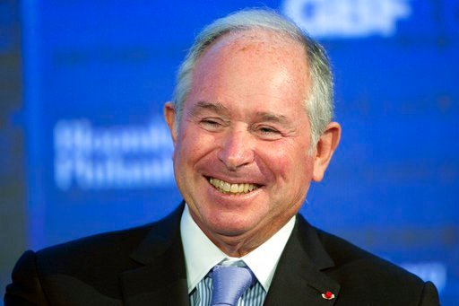 (AP Photo/Mark Lennihan, File). File - In this Wednesday, Sept. 20, 2017 file photo, Blackstone Group chairman and CEO Stephen Schwarzman speaks at the Bloomberg Global Business Forum, in New York. Schwarzman, CEO of private equity firm Blackstone, wit...