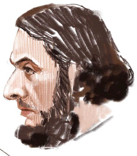 (Petra Urban via AP). In this courtroom sketch, Salah Abdeslam appears at the Brussels Justice Palace in Brussels on Monday, Feb. 5, 2018. Salah Abdeslam and Soufiane Ayari face trial for taking part in a shooting incident in Vorst, Belgium on March 15...