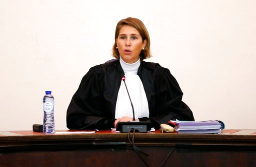 (Francois Lenoir, Pool Photo via AP). Belgian Judge Marie-France Keutgen presides over the second day of the trial of Salah Abdeslam and Soufiane Ayari at the Brussels Justice Palace in Brussels on Thursday, Feb. 8, 2018.