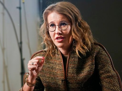 (AP Photo/Alexander Zemlianichenko). In this photo taken on Thursday, Feb. 1, 2018, Russian celebrity TV host Ksenia Sobchak, who wants to challenge Russian President Vladimir Putin in the March 18 presidential election, speaks during an interview to t...