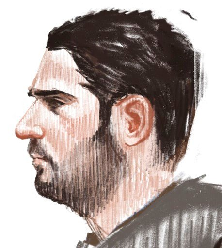 (Petra Urban via AP). In this courtroom sketch, Soufiane Ayari appears at the Brussels Justice Palace in Brussels on Monday, Feb. 5, 2018. Salah Abdeslam and Soufiane Ayari face trial for taking part in a shooting incident in Vorst, Belgium on March 15...