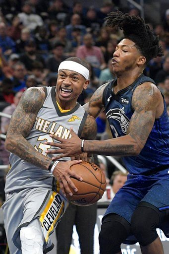 (AP Photo/Phelan M. Ebenhack). Cleveland Cavaliers guard Isaiah Thomas (3) drives to the basket in front of Orlando Magic guard Elfrid Payton (2), right, during the first half of NBA basketball game Tuesday, Feb. 6, 2018, in Orlando, Fla.