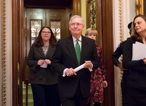 (AP Photo/J. Scott Applewhite). Senate Majority Leader Mitch McConnell, R-Ky., leaves the chamber after announcing an agreement in the Senate on a two-year, almost $400 billion budget deal that would provide Pentagon and domestic programs with huge spe...