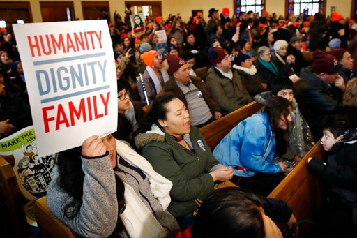 (AP Photo/Jacquelyn Martin). People rally in support of the Deferred Action for Childhood Arrivals (DACA) program Wednesday, Feb. 7, 2018, at the Lutheran Church of the Reformation, near the Capitol in Washington.