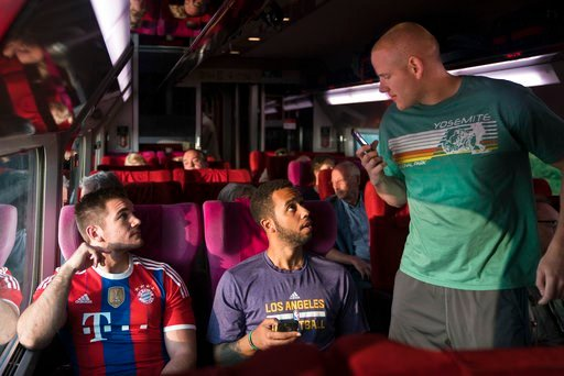 "(Warner Bros. Pictures via AP). This image released by Warner Bros. Pictures shows Spencer Stone, from left, Anthony Sadler and Alex Skarlatos in a scene from ""The 15:17"" To Paris."""