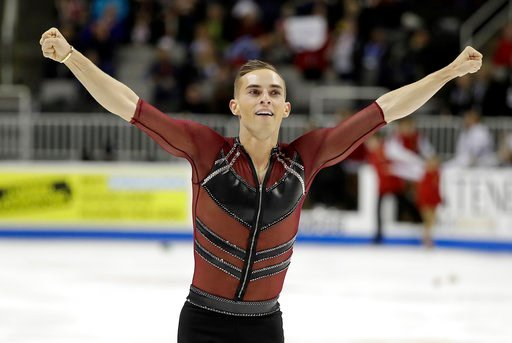 (AP Photo/Marcio Jose Sanchez, File). FILE - In this Jan. 4, 2018, file photo, Adam Rippon performs during the men's short program at the U.S. Figure Skating Championships in San Jose, Calif. Rippon remains open to speaking with Mike Pence over the vic...